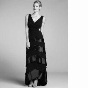Tadashi Shoji Silk Tiered V Neck Black Gown 18